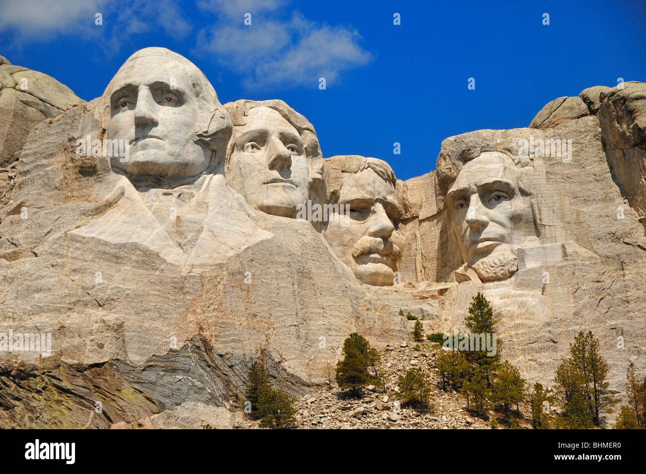 The four American Presidents carved in rock at Mount Rushmore National Monument, South Dakota, USA - Stock Image