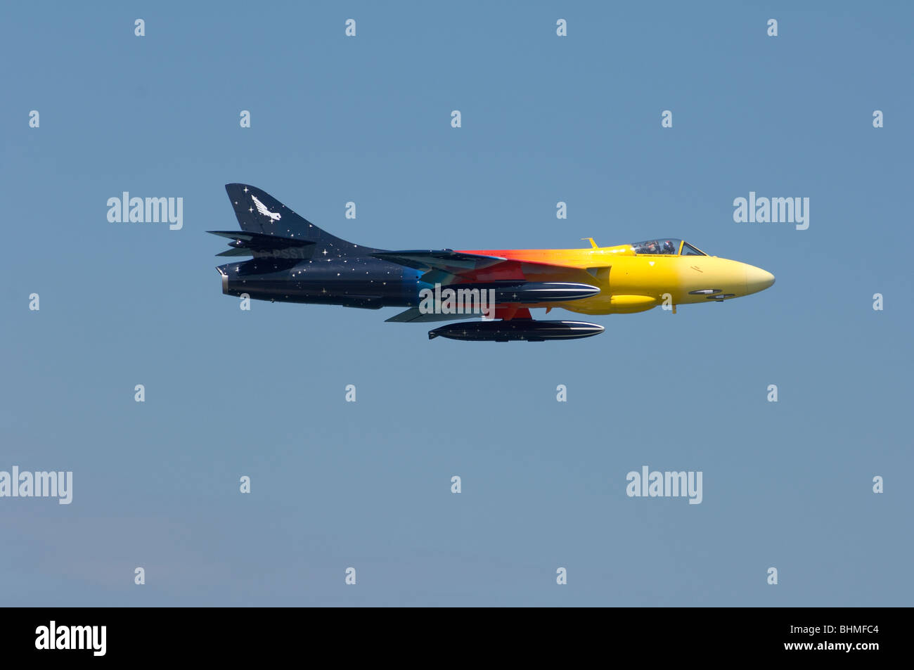 Hawker Hunter Miss Demeanour aerial display at the Kent Air show Stock Photo