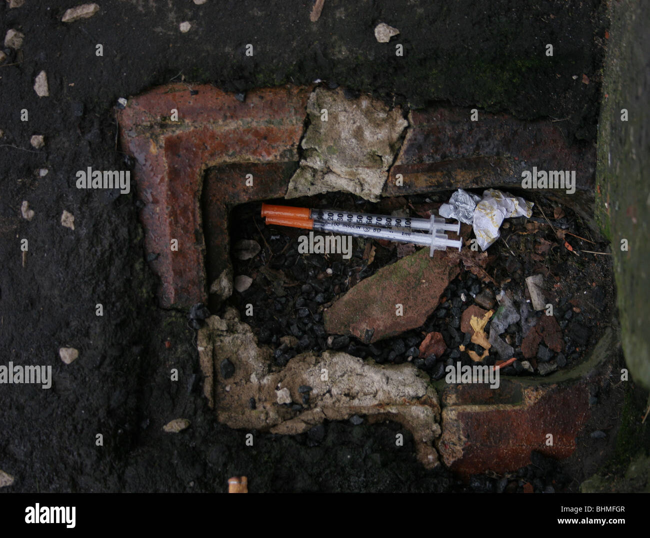 hypodermic Needle found in Street - Stock Image