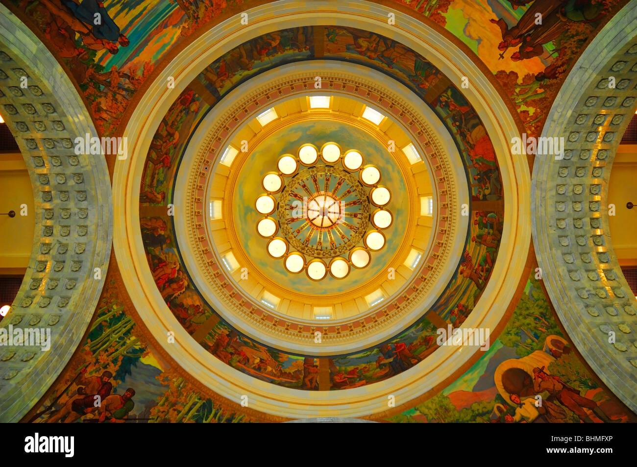 Inside view of the cupola or dome at Utah State Capitol building in Salt Lake City, Utah, USA - Stock Image