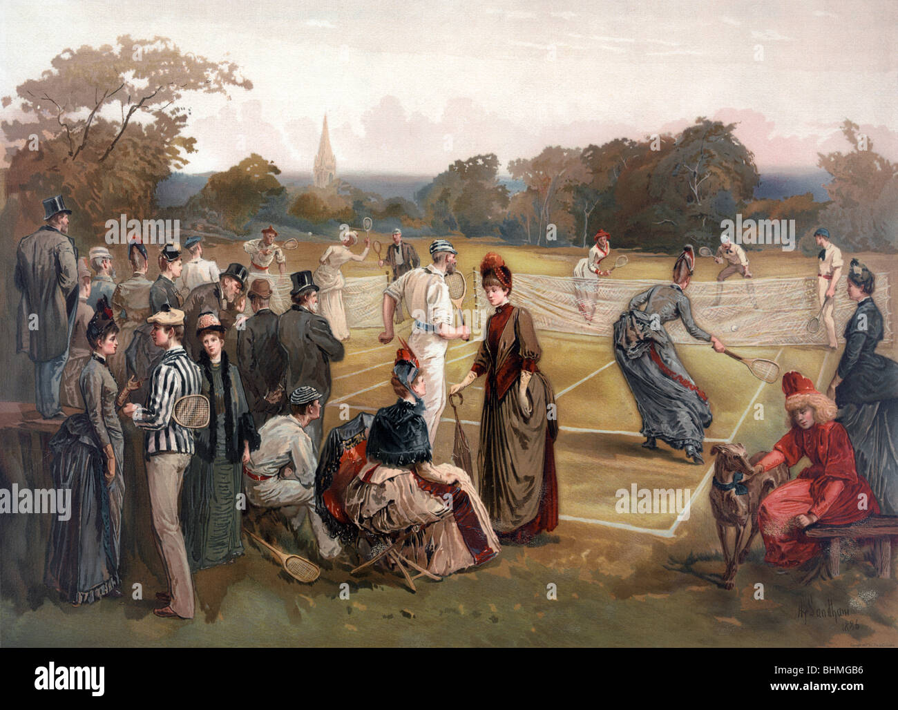 Vintage colour print c1887 depicting an early game of lawn tennis in the United States of America. - Stock Image