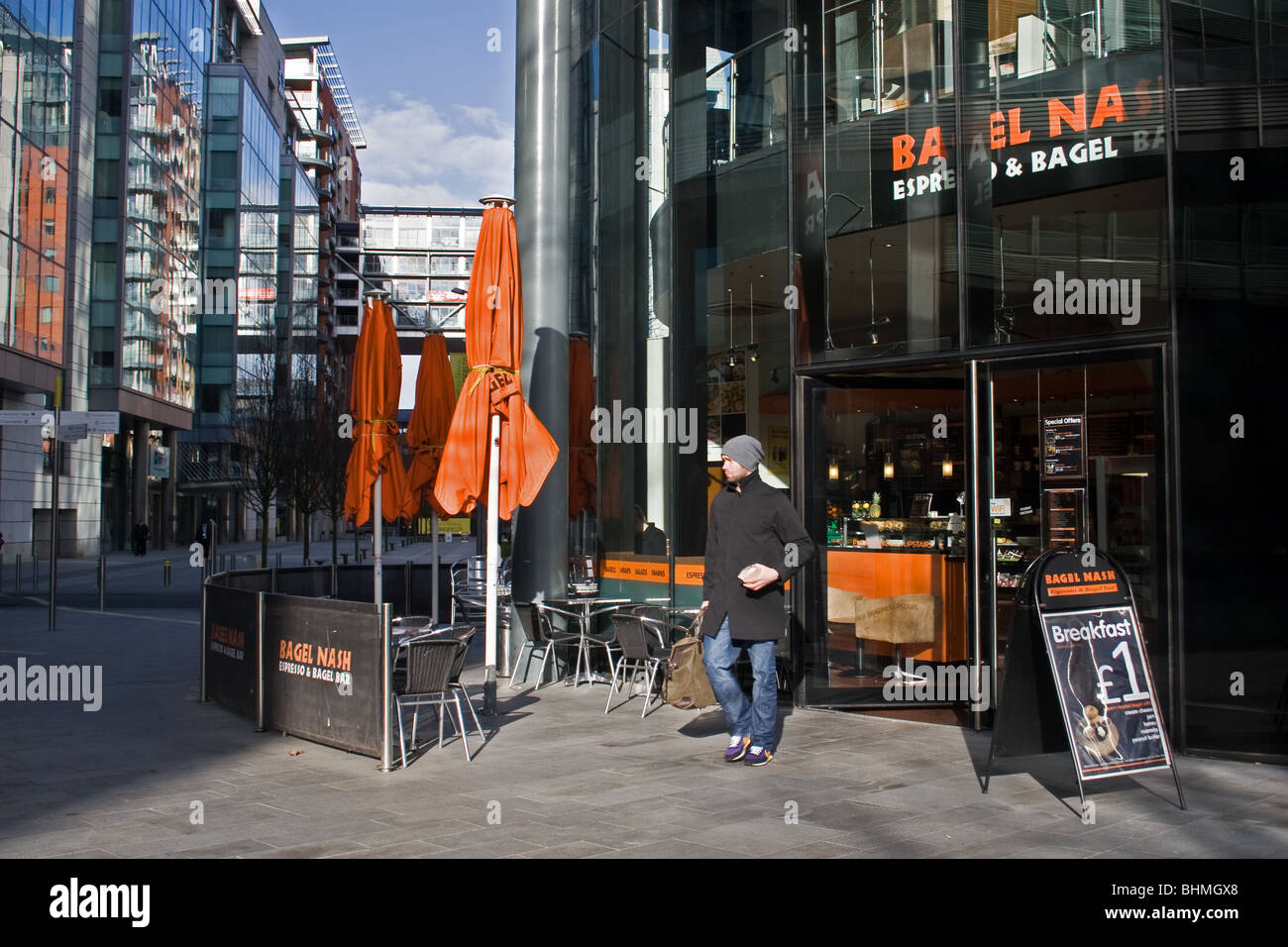 Spinningfields area of Manchester city centre, UK - Stock Image