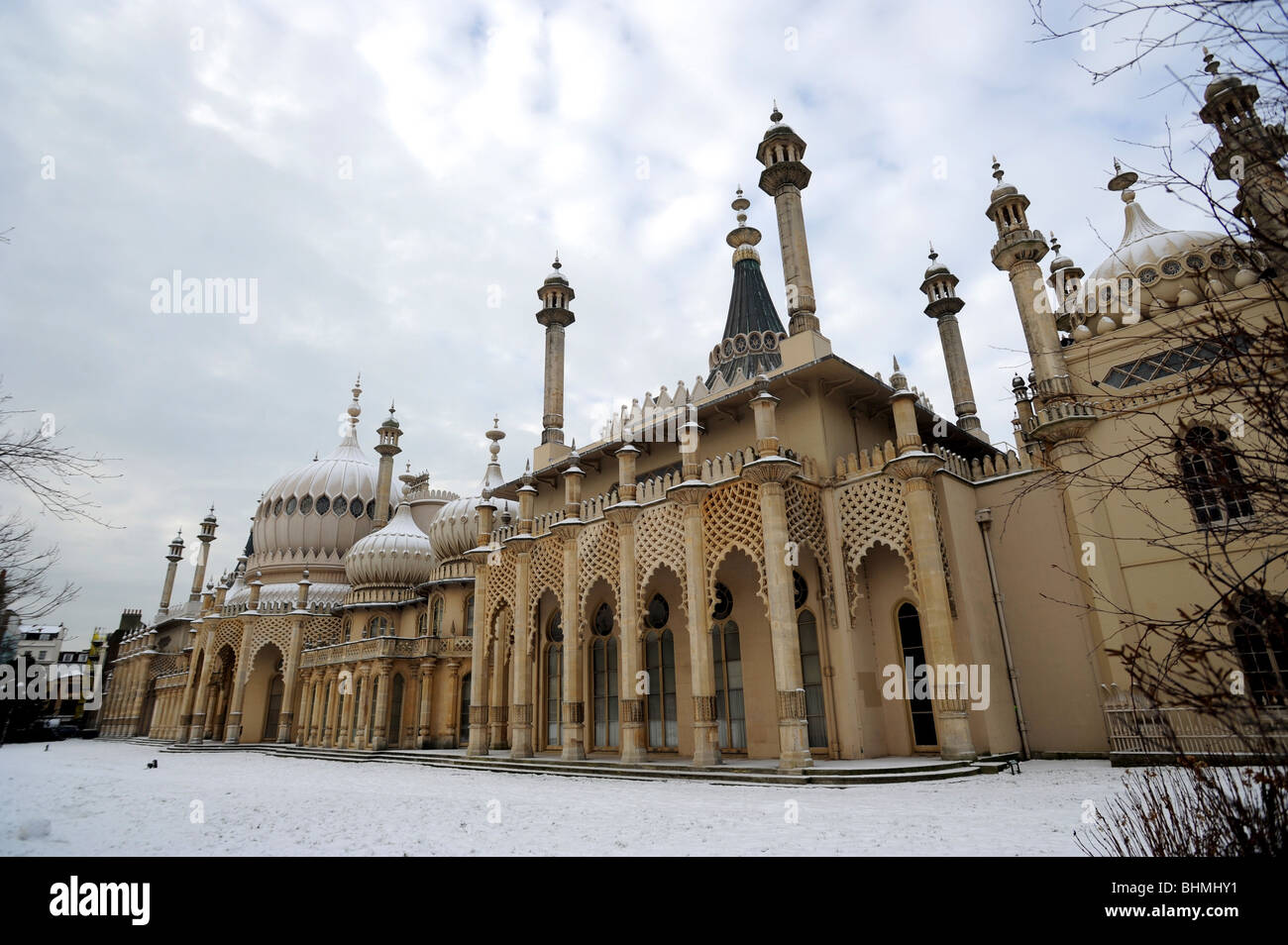 The royal pavilion brighton in the snow Stock Photo
