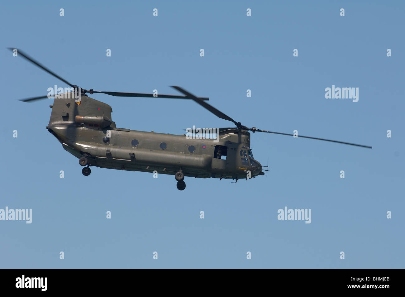 Chinook Helicopter twin engine RAF L blue sky - Stock Image