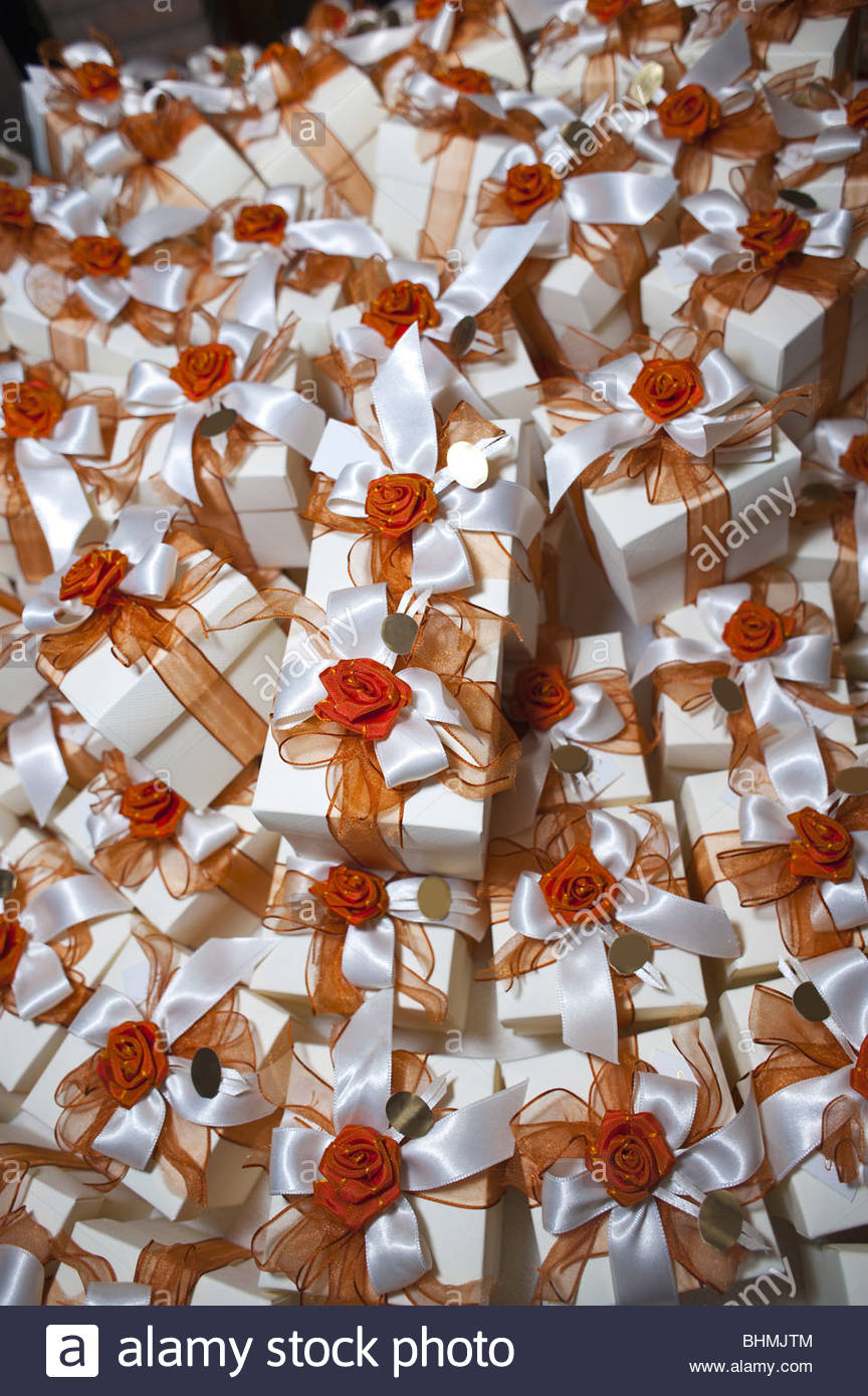 Group of gift boxes with ribbon - Stock Image
