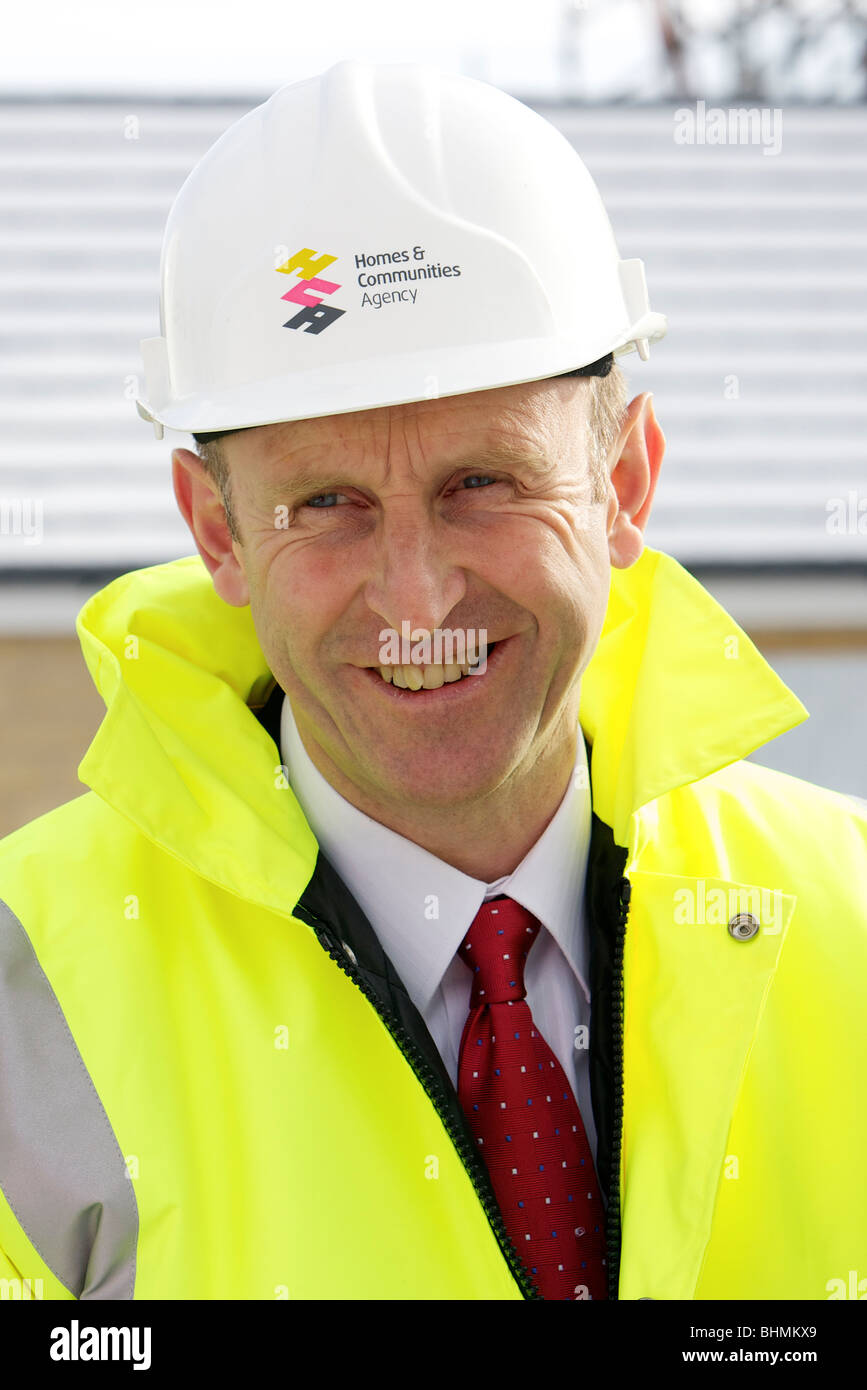 John Healey MP, The Housing Minister, visits a new homes site in Dewsbury, West Yorkshire. - Stock Image