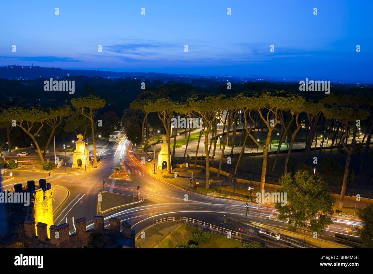 Villa Borghese at night seen from above Rome Italy - Stock Image