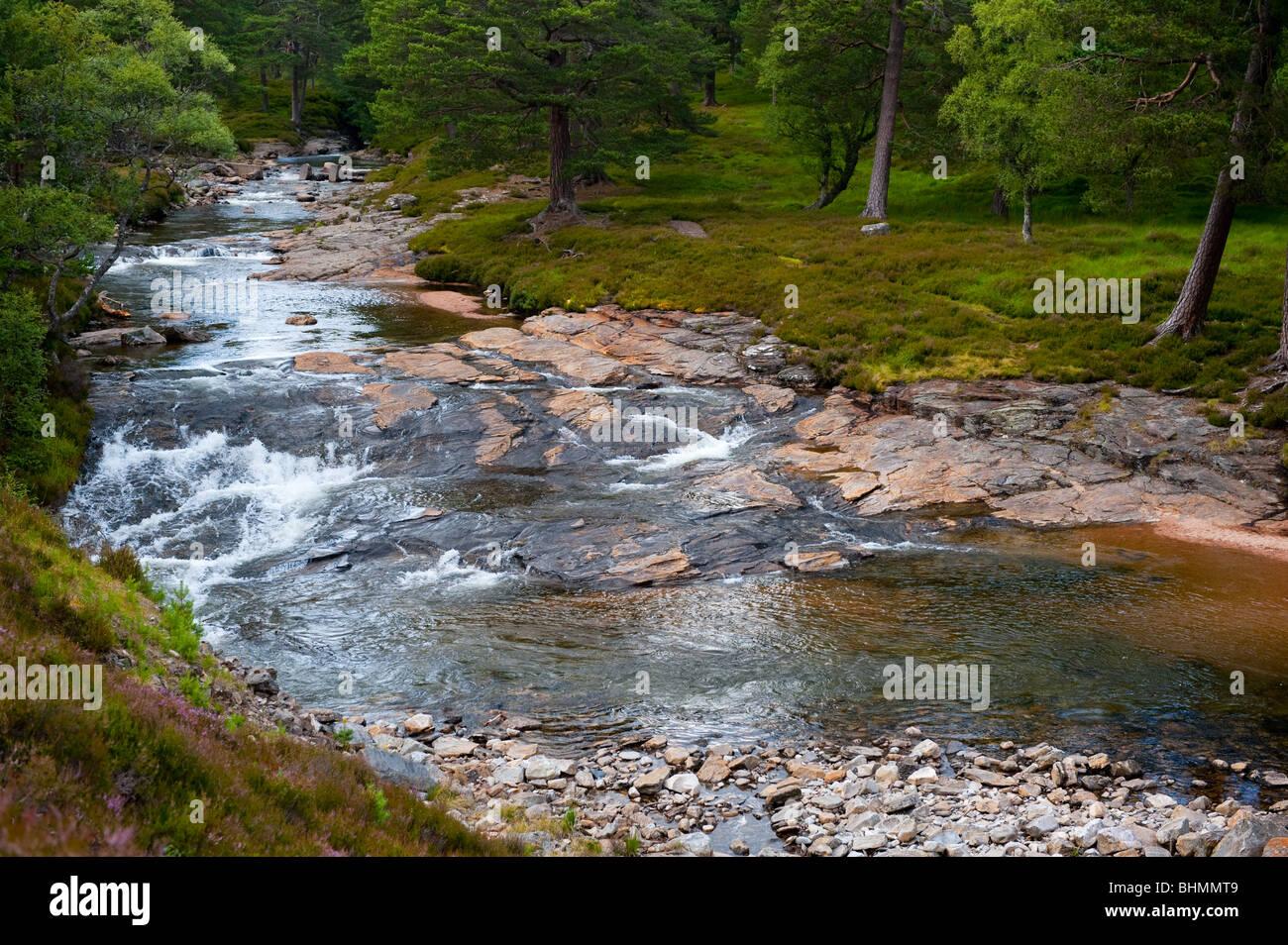 image of river lui near braemar - Stock Image