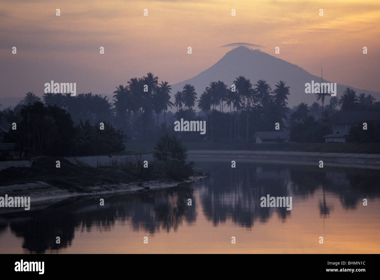 View of lagoon and mountain outside Banda Aceh on island of Sumatra Indonesia world's largest Muslim nation Stock Photo