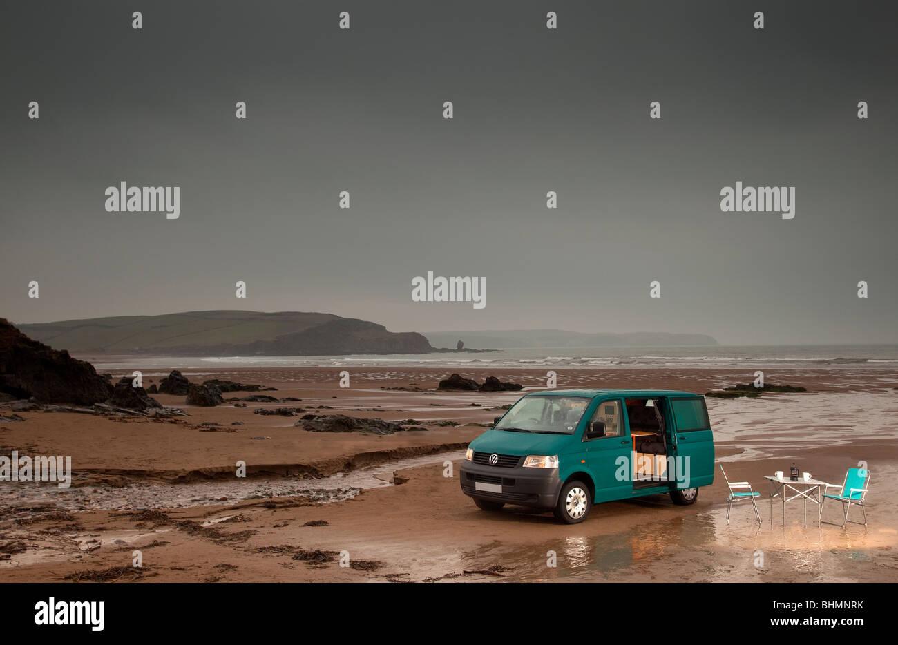 VW Cambee Motorhome on Bigbury on Sea beach Devon UK - Stock Image