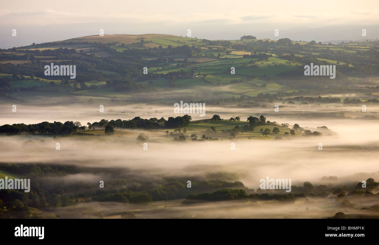 Early morning mist hanging over rolling farmland near Llangadog, Brecon Beacons National Park, Carmartenshire, Wales, - Stock Image