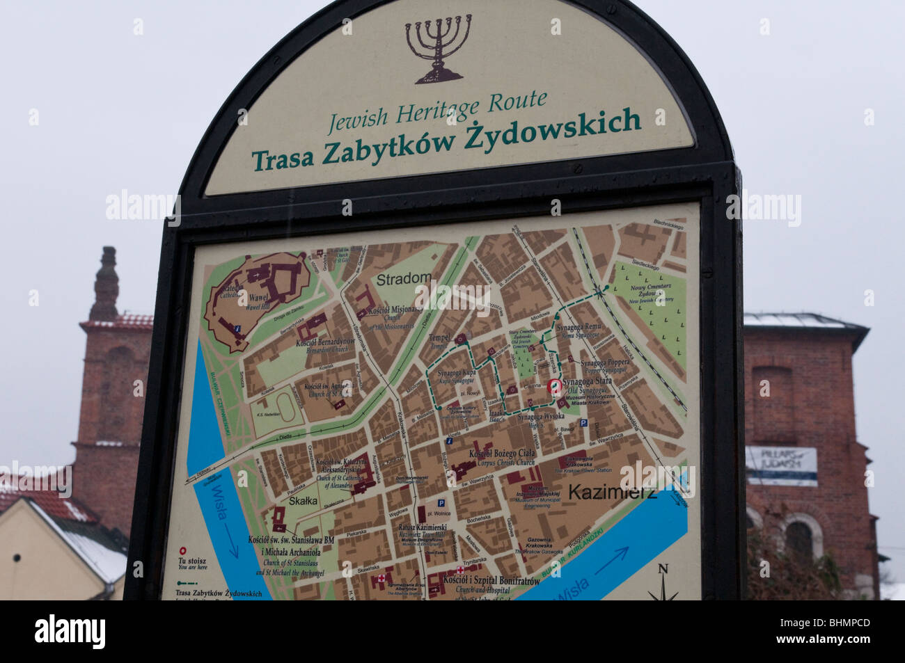 local street map of kazimierz jewish gheto in krakow stock image