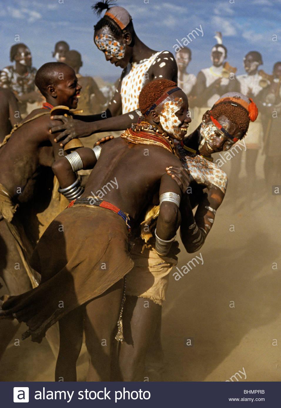 Karo courtship festival Ethiopia. - Stock Image