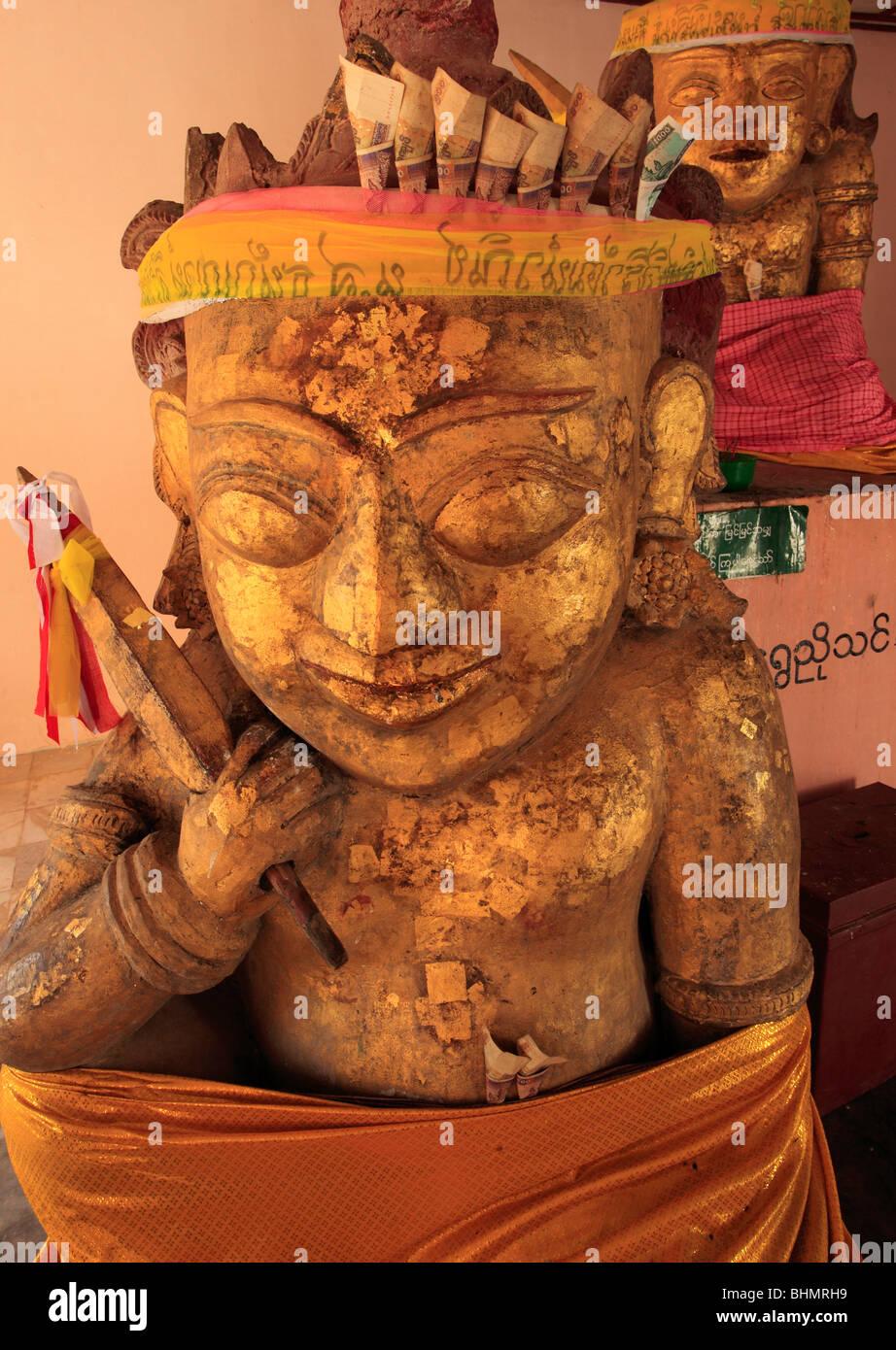 Myanmar, Burma, Bagan, Nyaung U, Shwezigon Pagoda, nat spirit statue Stock Photo