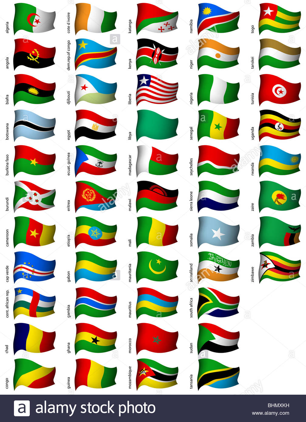 wavy african flags set - Stock Image