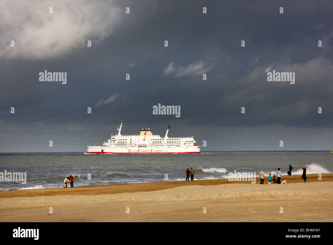Ferry boat in front of the beach at Ostend, Belgium - Stock Image