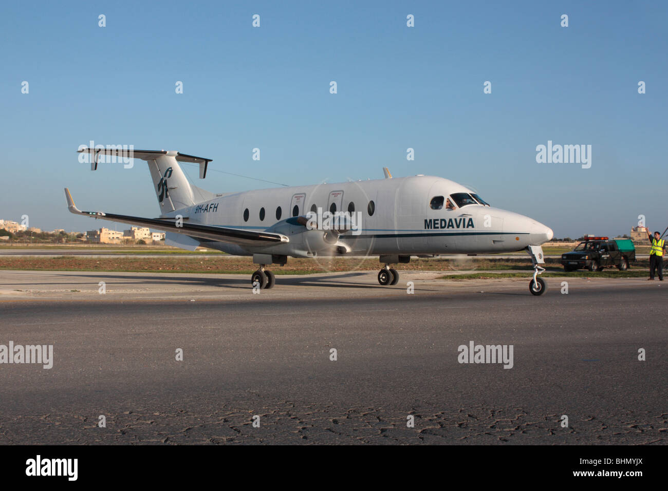 Medavia Beech 1900D turboprop commuter plane at Malta International Airport Stock Photo
