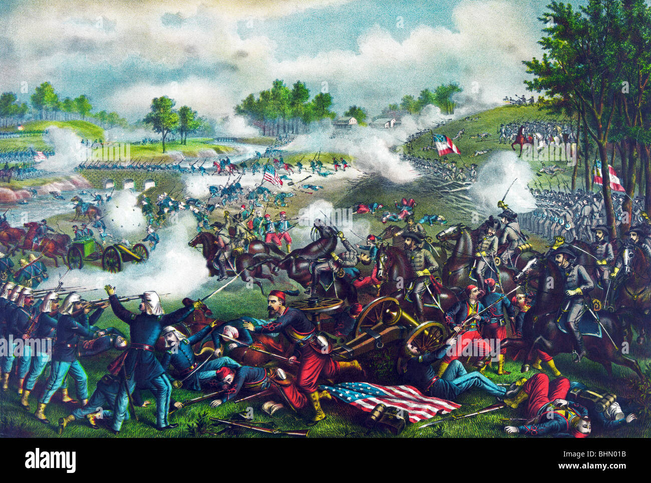 Print c1889 depicting the First Battle of Bull Run (July 21 1861) during the American Civil War. - Stock Image