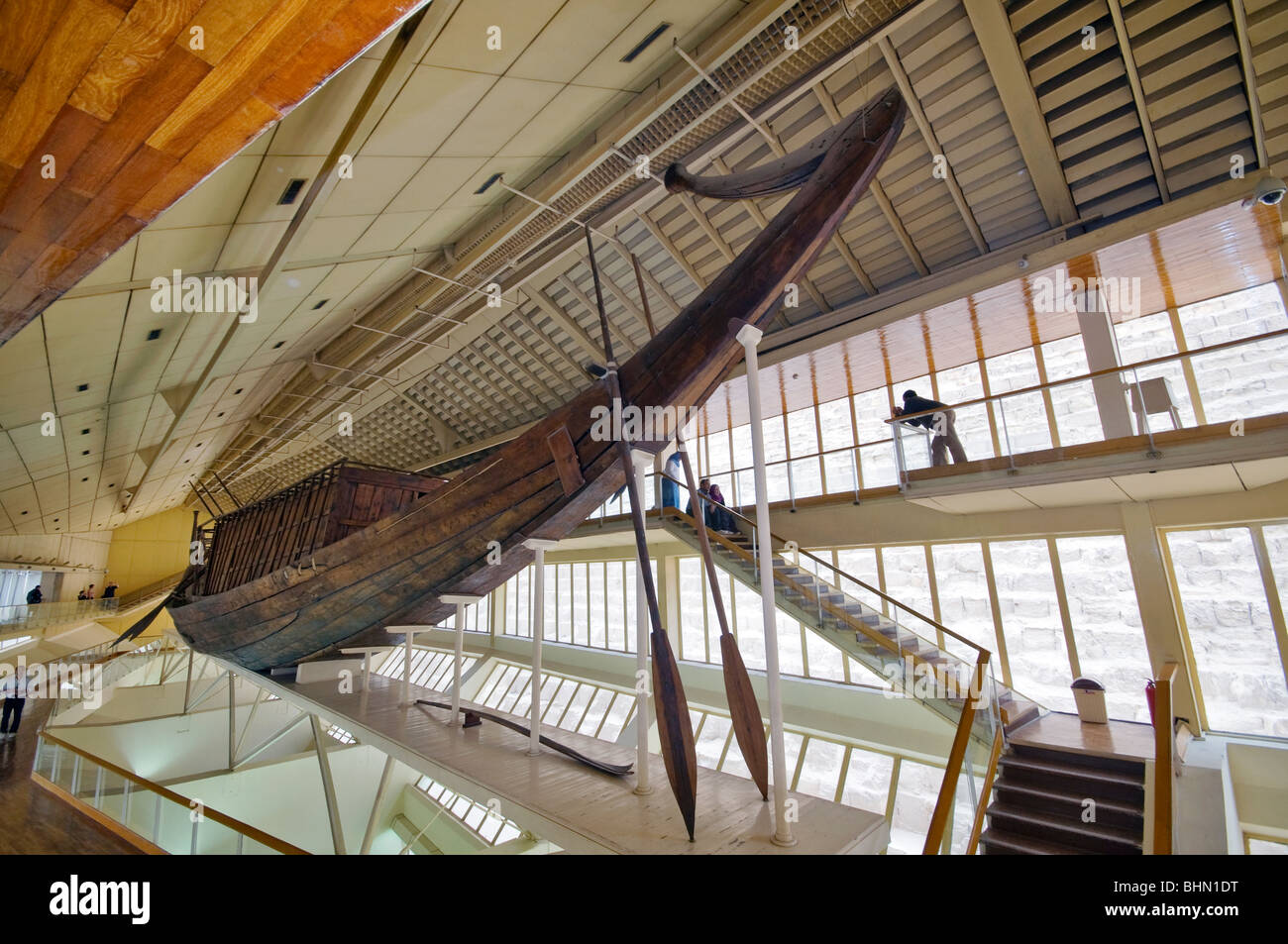 Pharaoh Boat found in Greay Pyramid Giza, Cairo Egypt - Stock Image
