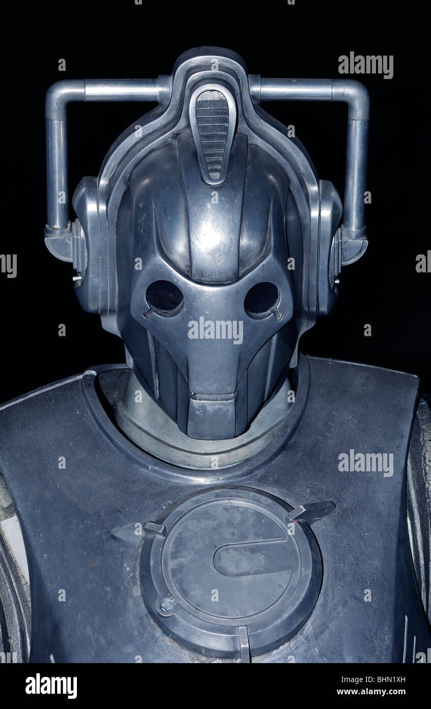 a cyberman in a Dr.Who exhibition at Lands End, Cornwall, UK - Stock Image