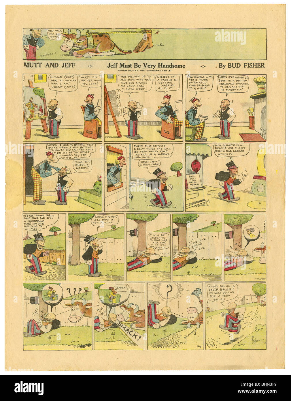 1923 color Sunday newspaper comic page, Mutt and Jeff, by Bud Fisher. - Stock Image