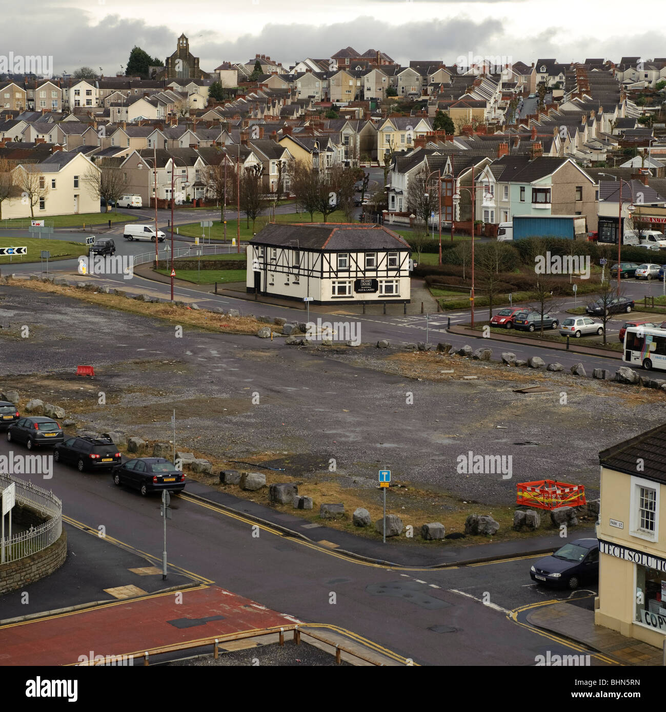 vacant redevelopment plot in Llanelli town centre, Carmarthenshire west wales UK - Stock Image