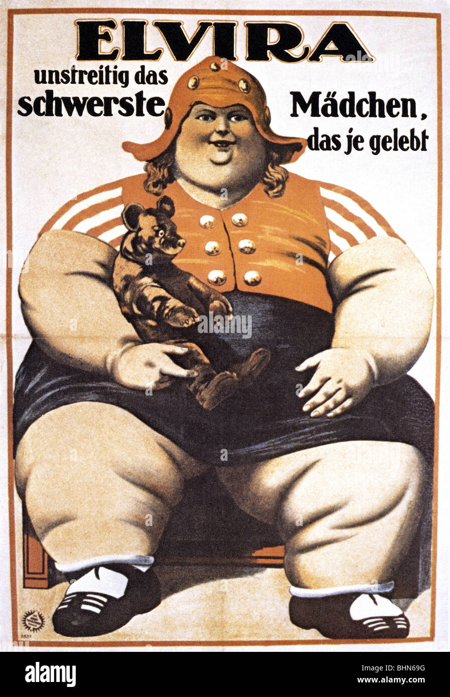 circus, curiosities, 'Elvira, without doubt the heaviest girl ever known', poster, circa 1900, Additional - Stock Image