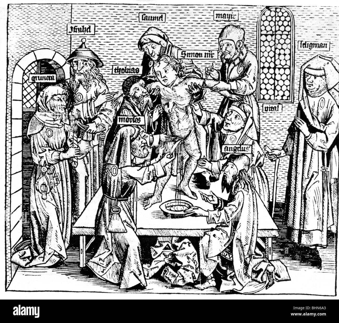 Judaism, persecution of the Jews, anti Jewish propaganda, alleged ritual murder, victim: Simon of Trent, 1475, woodcut - Stock Image