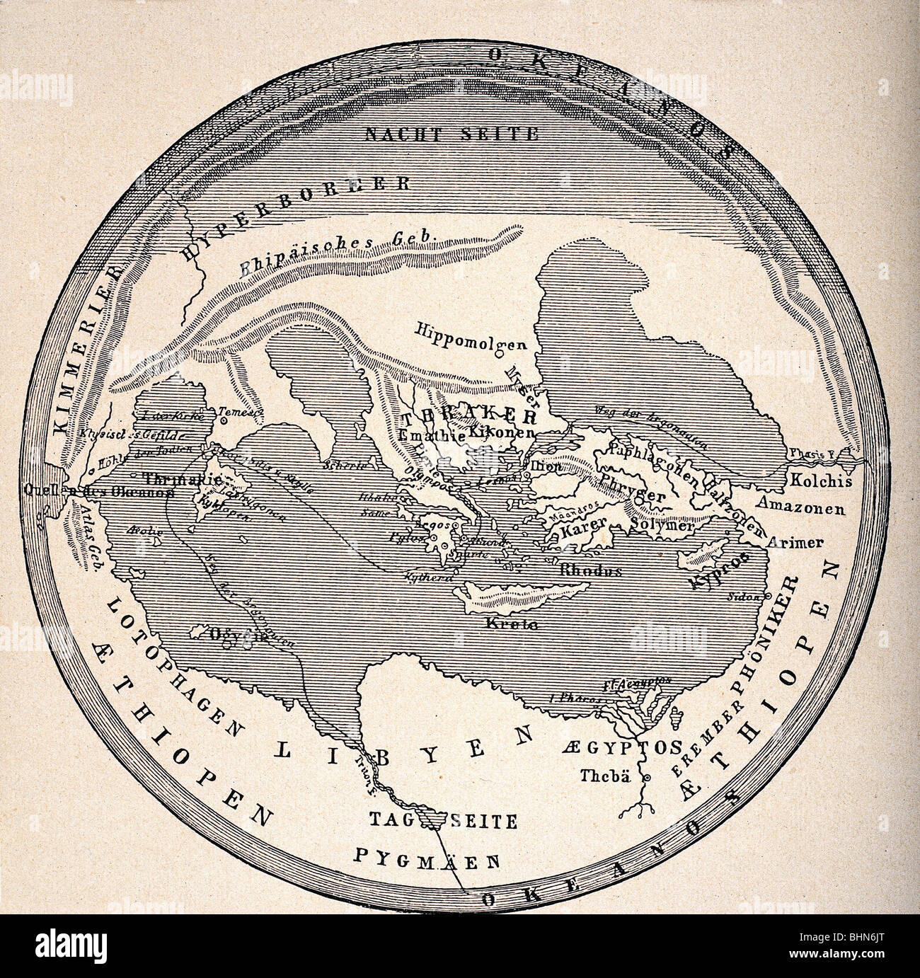 cartography, world maps, ancient world, earth map after Homer Stock ...