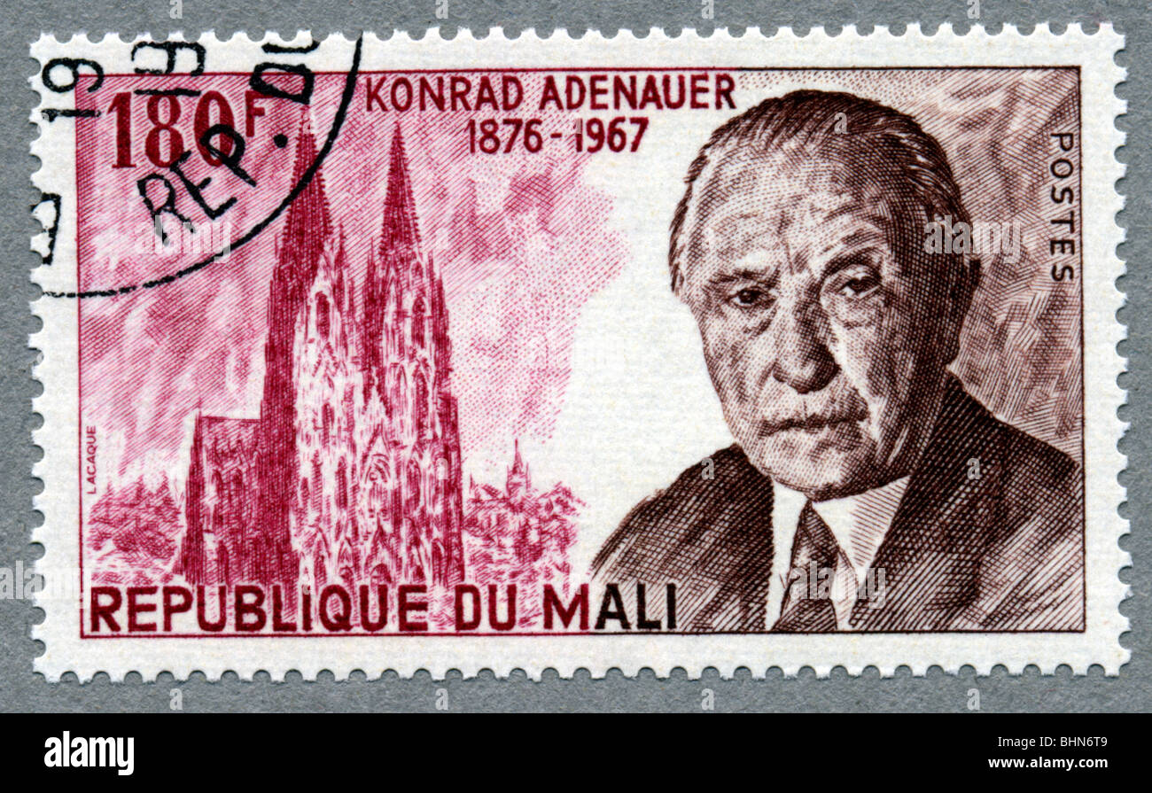 mail / post, postage stamps, Republic of Mali, 180 Franc stamp, with a portrait of the German politician Konrad - Stock Image