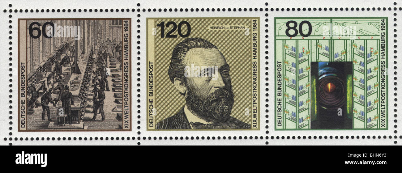 mail / post, stamps, West Germany, Deutsche Bundespost, 60, 120 and 80 Pfennig special issue stamps, printed on - Stock Image