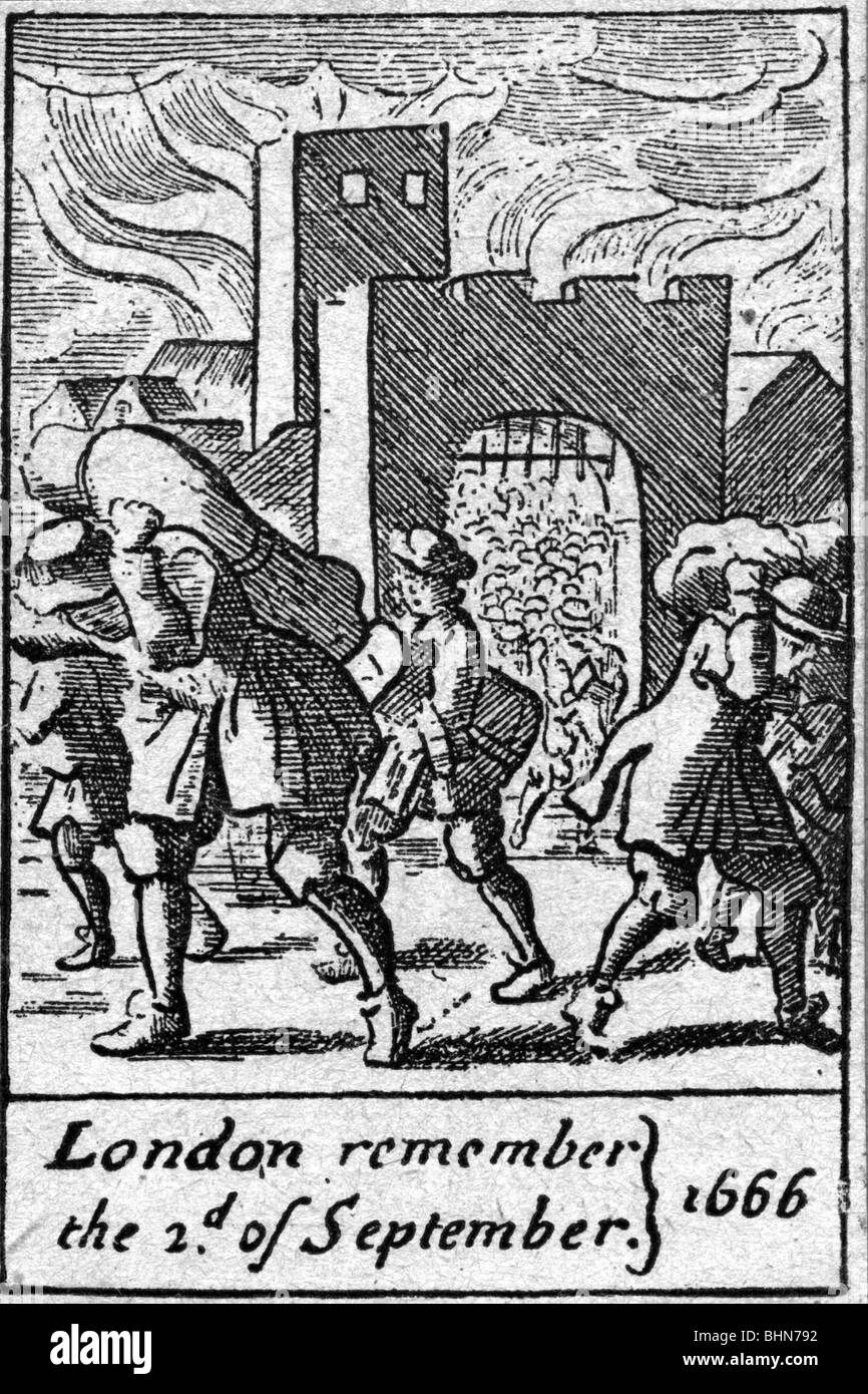 fire, London 1666, Additional-Rights-Clearances-NA - Stock Image