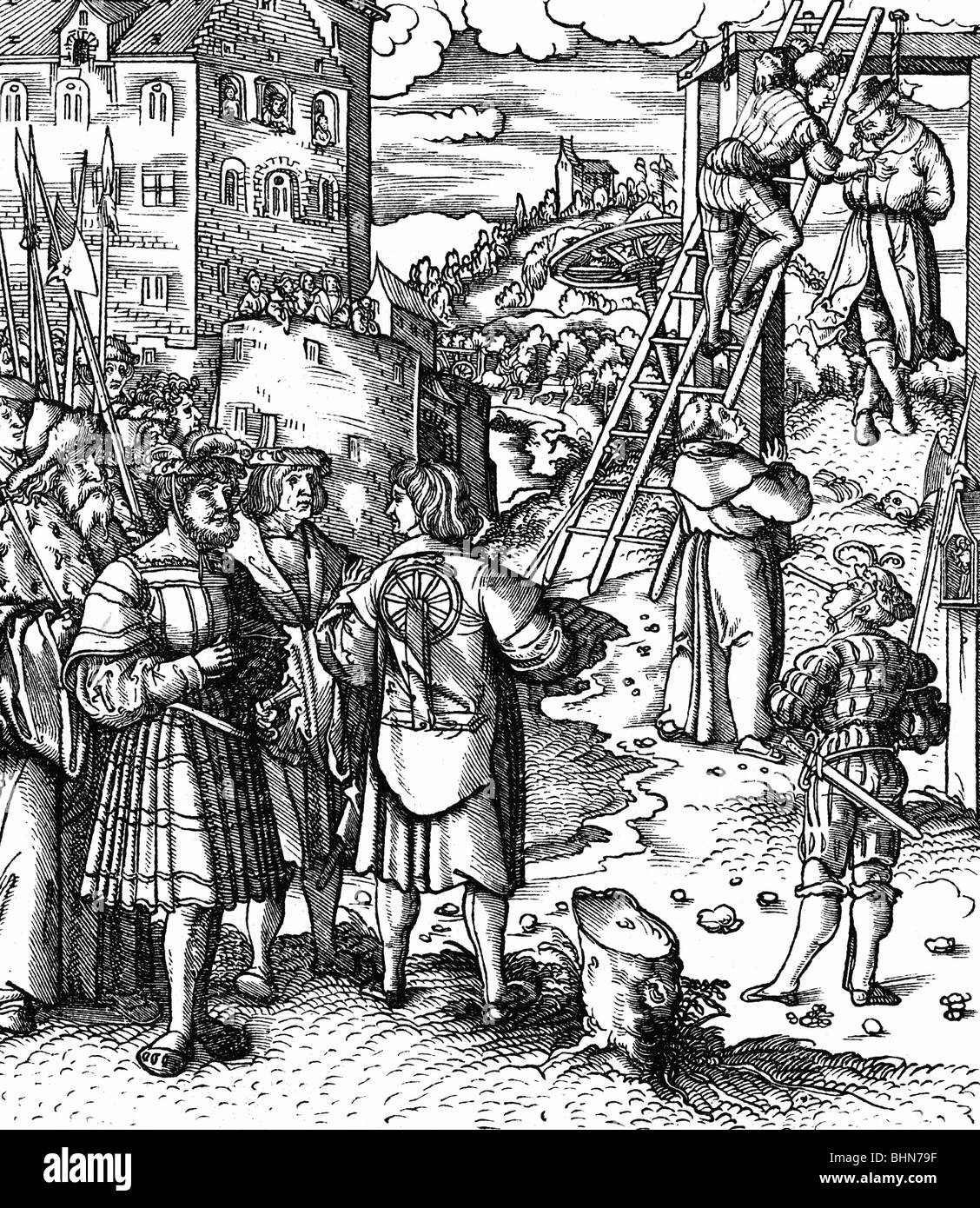 justice, penitentiary system, place of execution with gallows and wheel, woodcut by Hans Burgkmair, for 'Theuerdank' - Stock Image