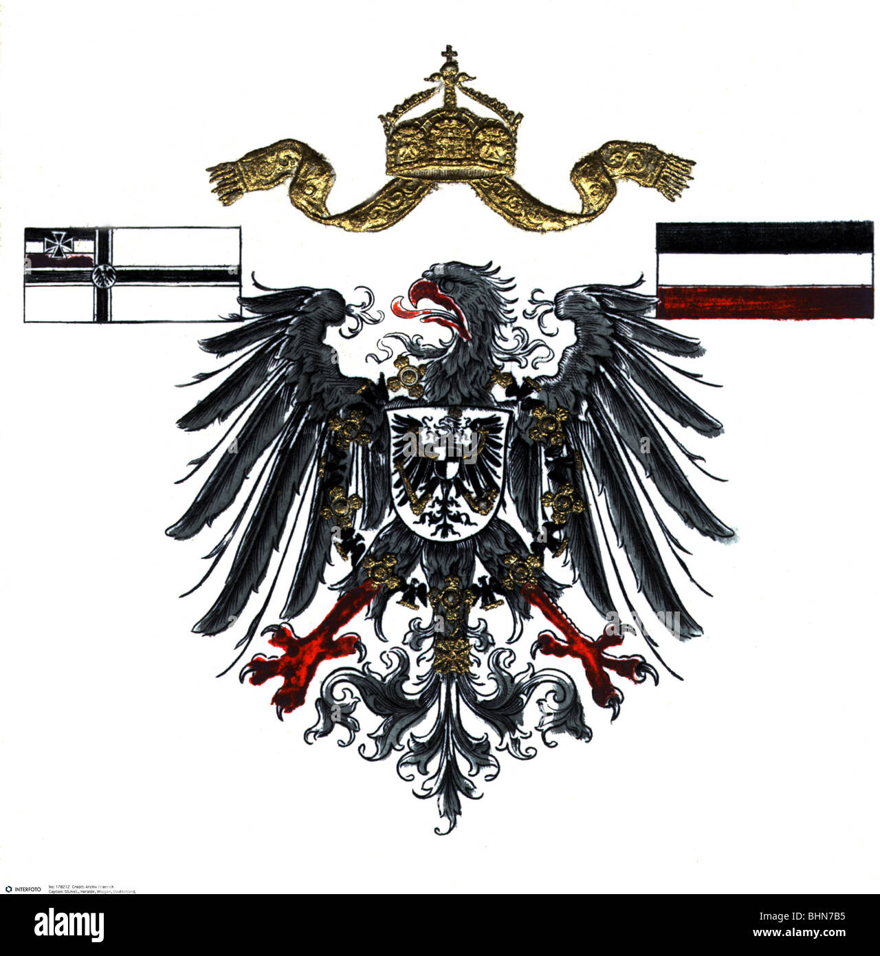 heraldry, coat of arms, Germany, imperial eagle with war flag of the ...