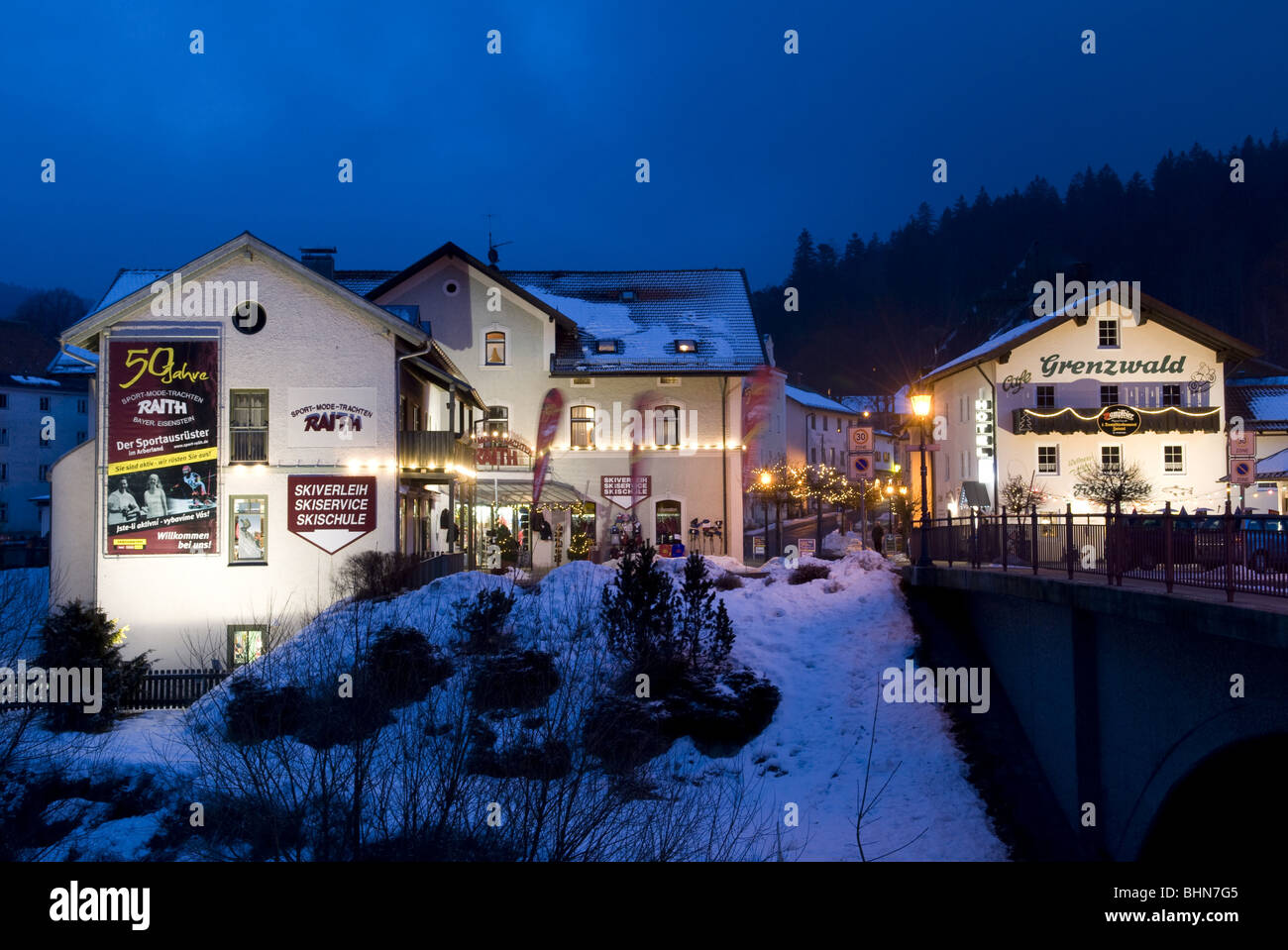 geography / travel, Germany, Bavaria, Bavarian Forest, townscape, night shot, Additional-Rights-Clearance-Info-Not - Stock Image