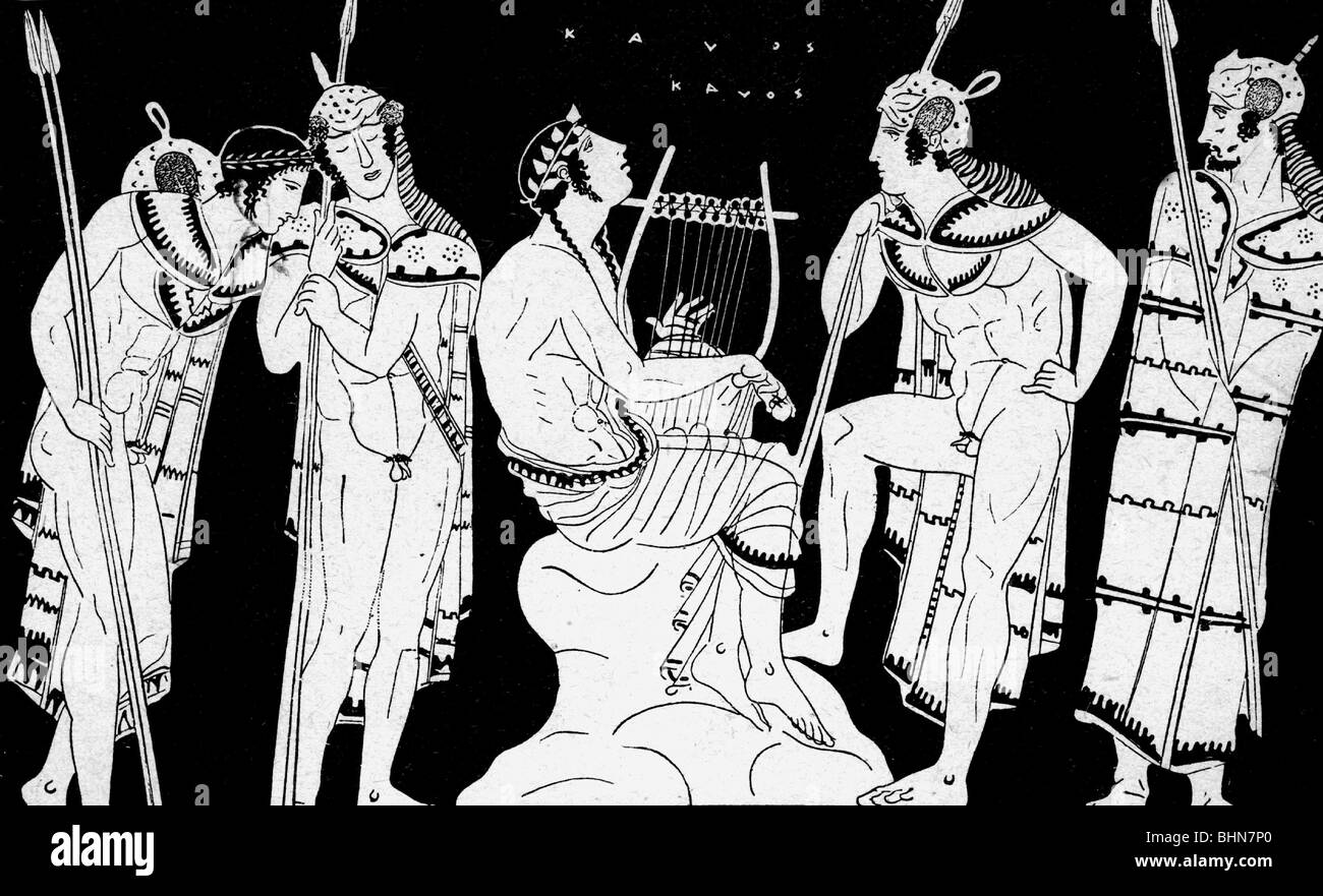 Orpheus, Thracian musician (singer), at the Thracians, Greek vase painting, 450 BC, , Additional-Rights-Clearances - Stock Image