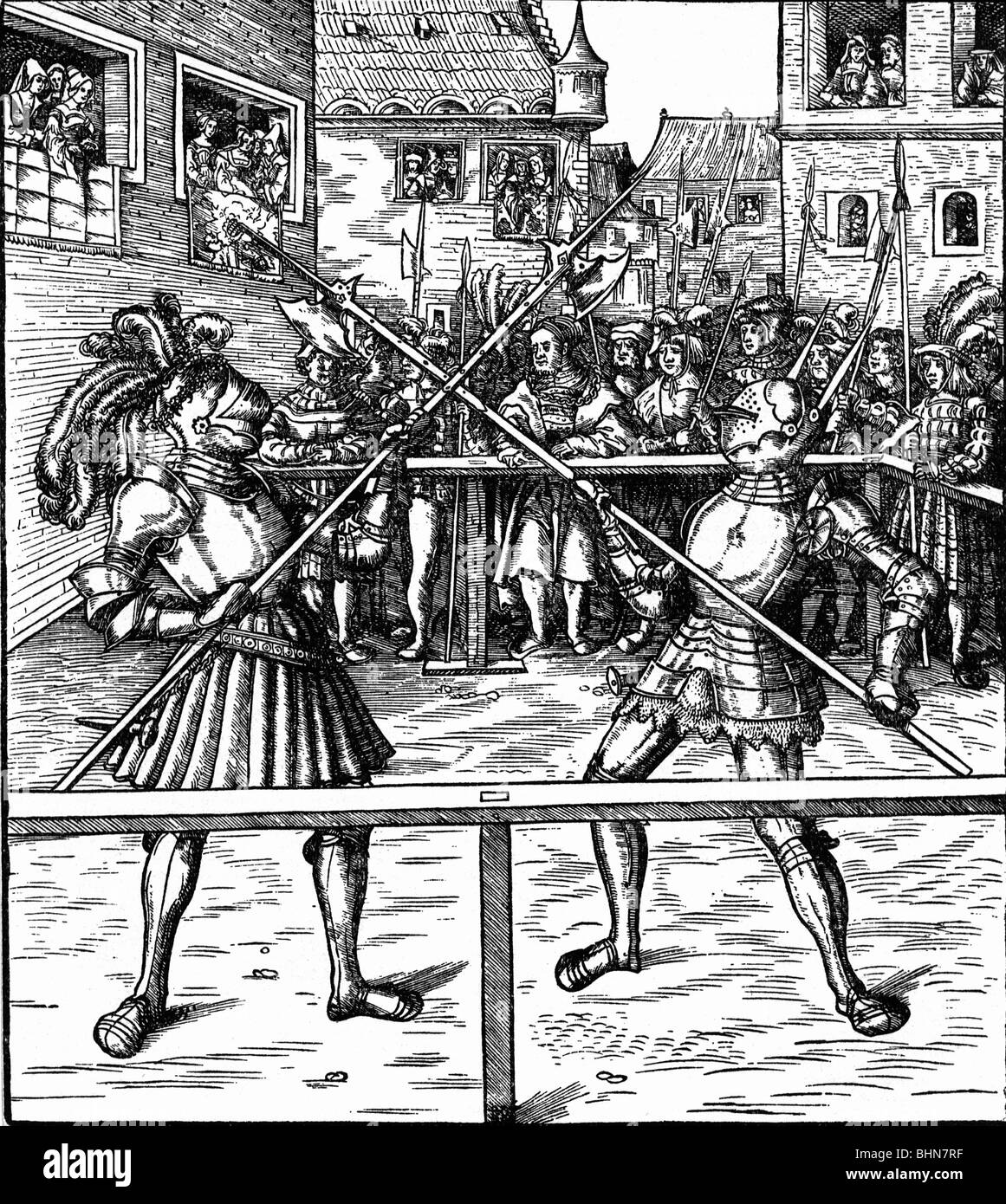 middle ages, knights, tournament, combat with halberds, woodcut by Hans Burgkmair to 'Freydal', by emperor - Stock Image