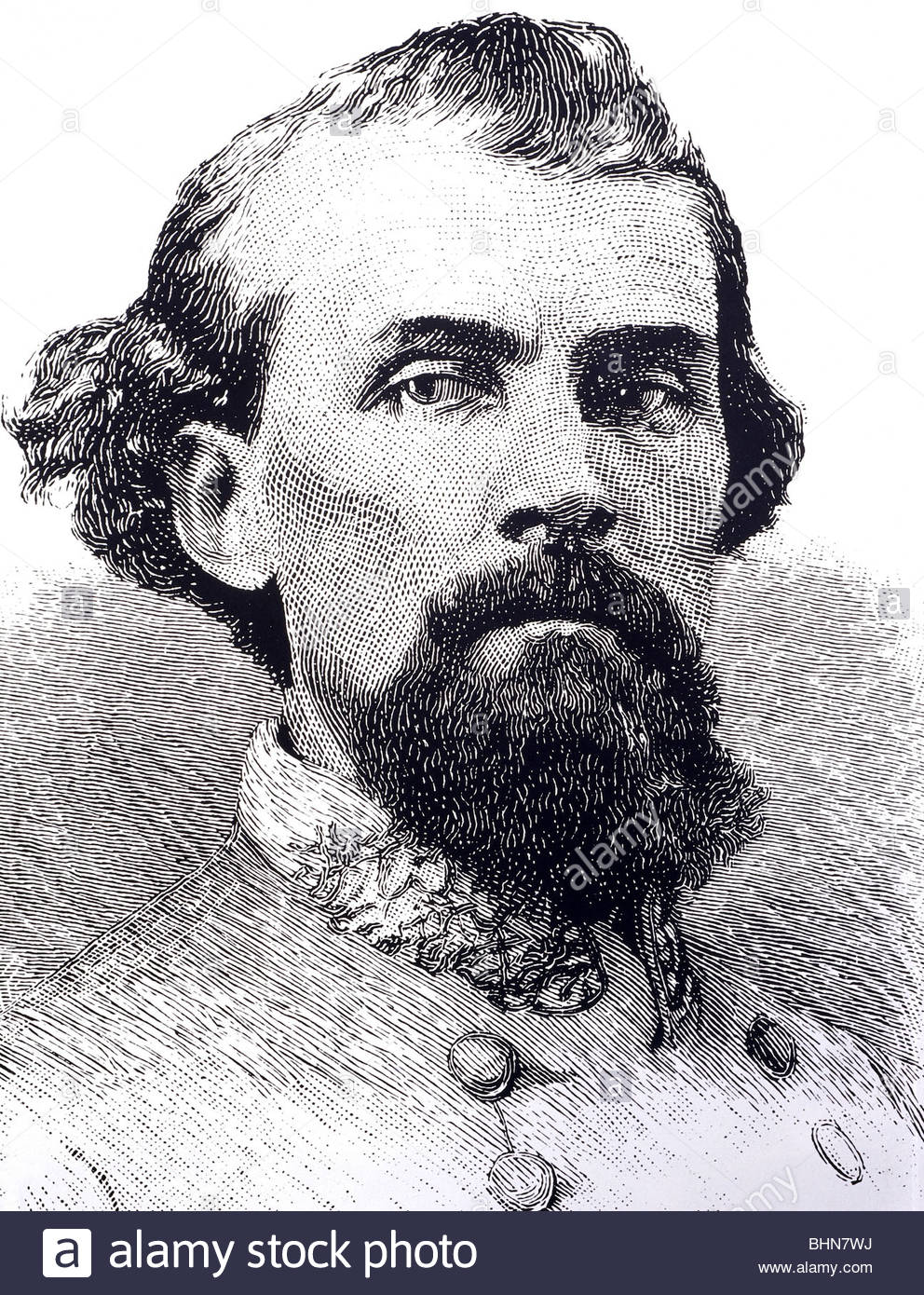 Forrest, Nathan Bedford, 13.7.1821 - 29.10.1877, American general (Confederate Army), founder of the Ku Klux Klan - Stock Image