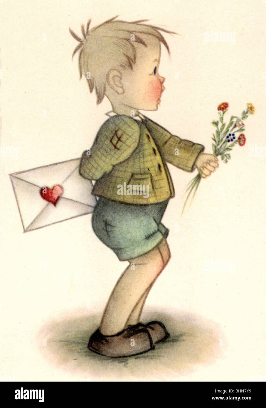Messenger of love stock photos messenger of love stock images alamy kitsch souvenir greetings card boy with love letter and flowers drawing by m4hsunfo
