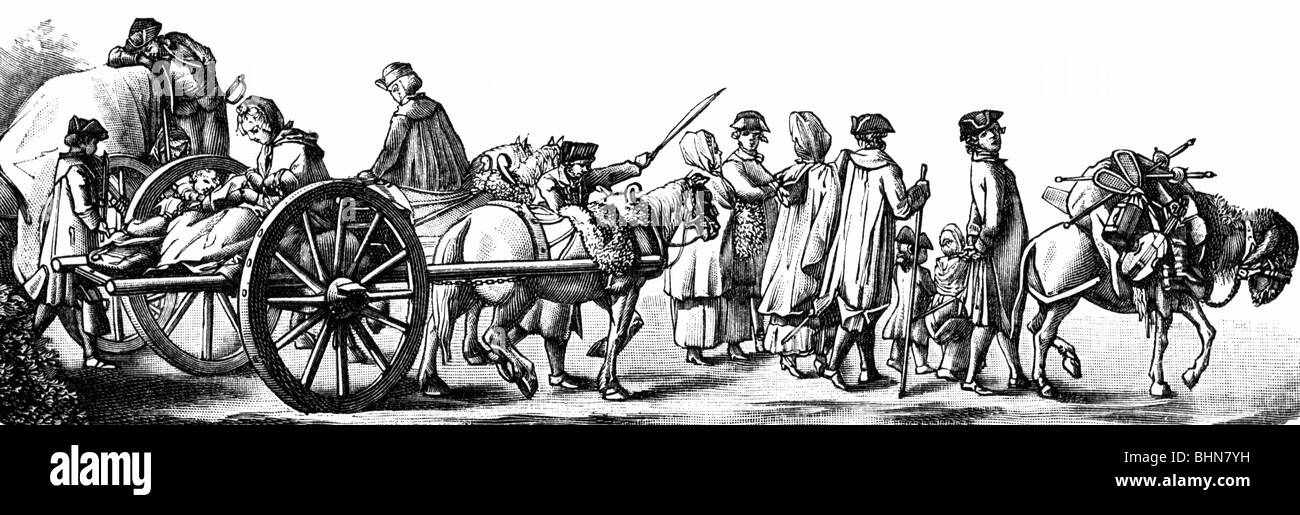 geography / travel, Germany, people, huguenots, going to Berlin to built the Regie, etching by Daniel Chodowiecki, - Stock Image