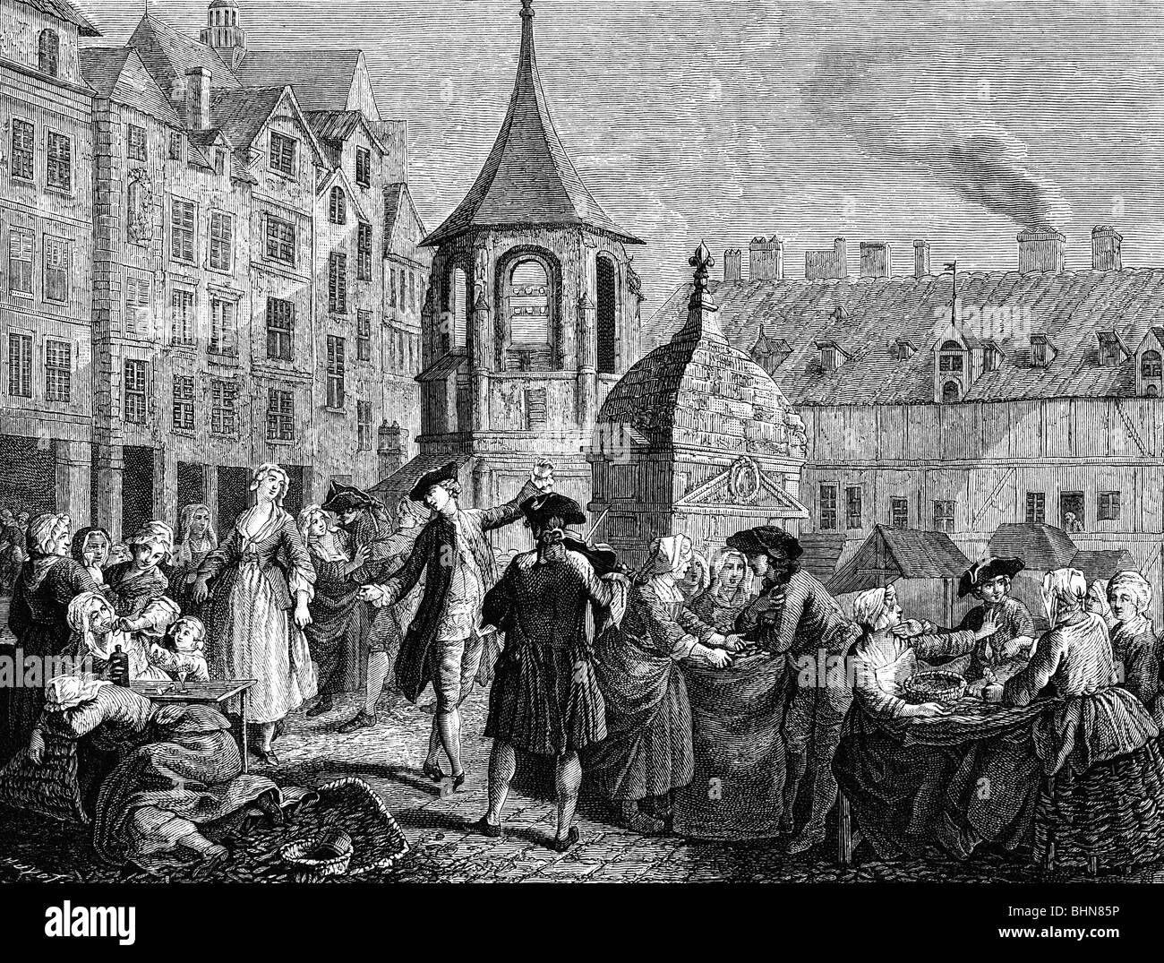 """trade, markets, """"Le marche des Innocents"""", Paris, wood engraving after copper engraving by Jeaurat, 18th century, Stock Photo"""