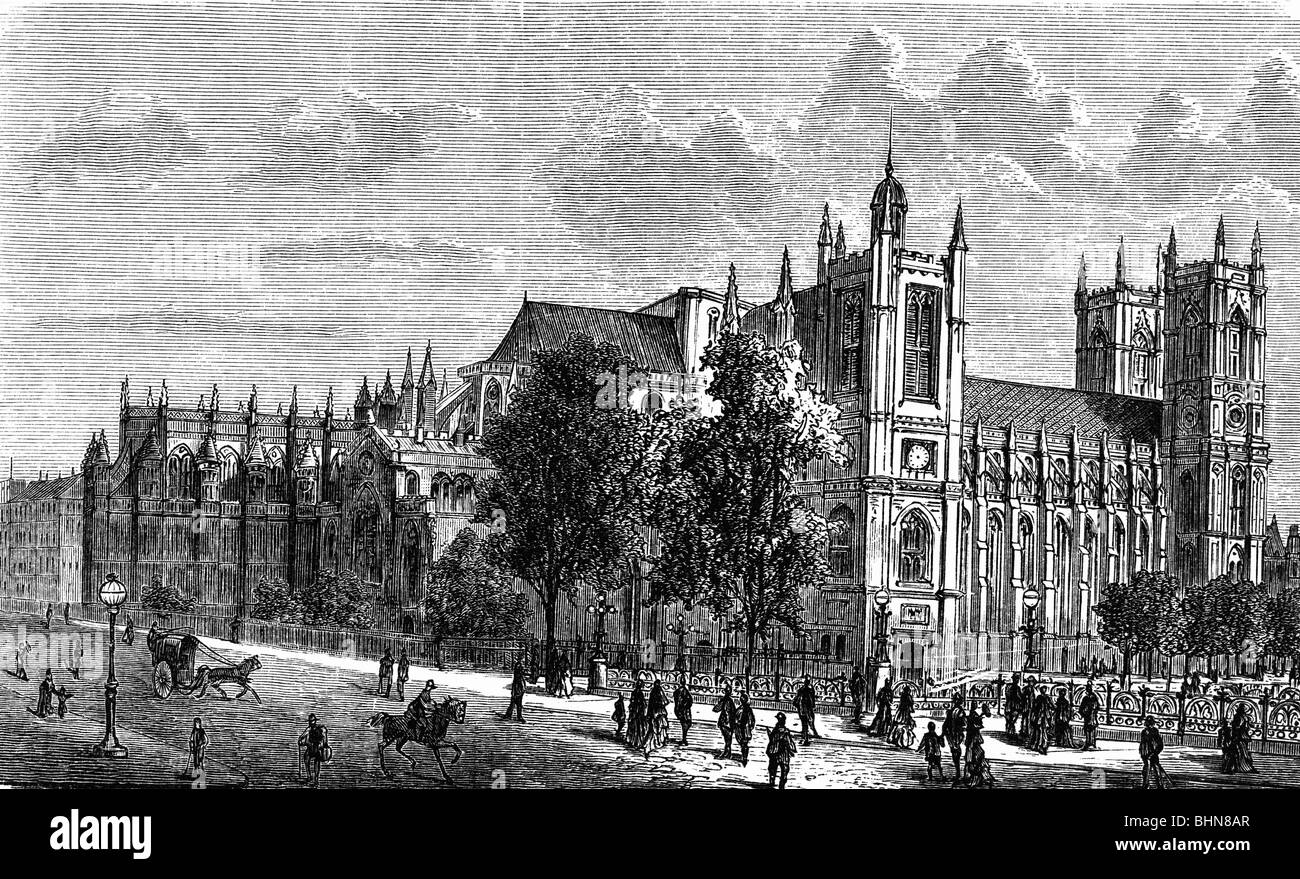 geography / travel, Great Britain, London, Westminster Abbey, exterior view, wood engraving, 19th century, historic, - Stock Image