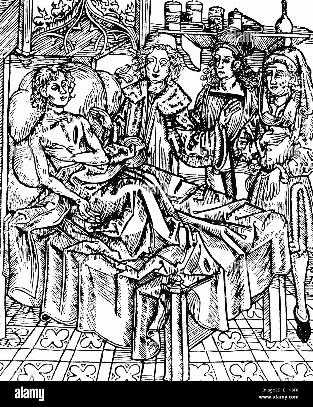 medicine, surgery, surgeon with his assistents, from Hieronimus Braunschweig: Chirurgia, 1497, Additional-Rights Stock Photo