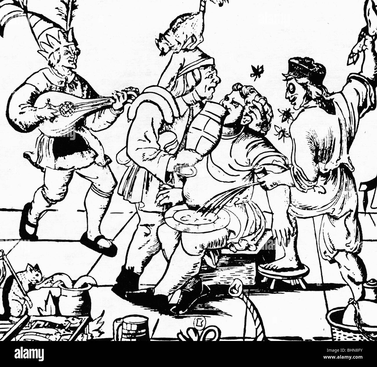 medicine, narcosis, narcotic, blood-letting and anesthesia, woodcut by Hans Weiditz, 16th century, historic, historical, - Stock Image