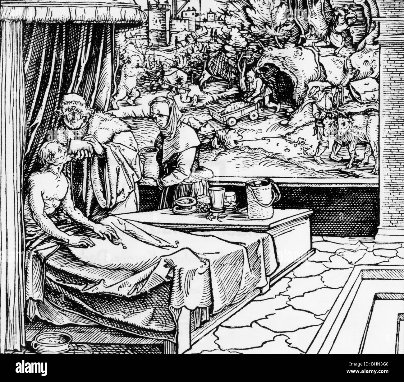 medicine, narcosis, narcotics, doctor with anaesthetic, woodcut by Cicero, 1531, Additional-Rights-Clearances-NA - Stock Image