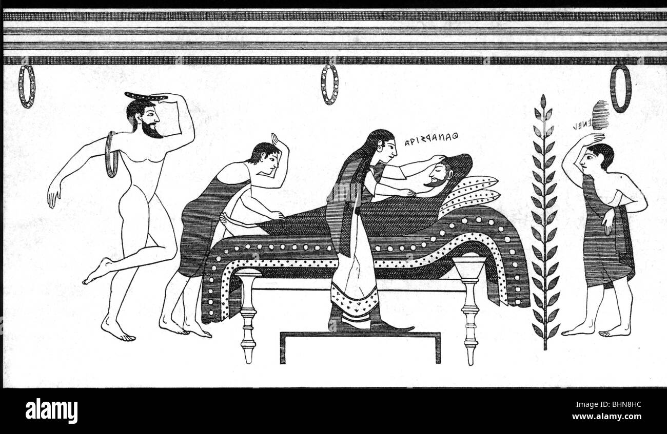 ancient world, Etruscans, autopsy, wood engraving after tomb painting, Tarquinia, post-mortem examination, postmortem, - Stock Image