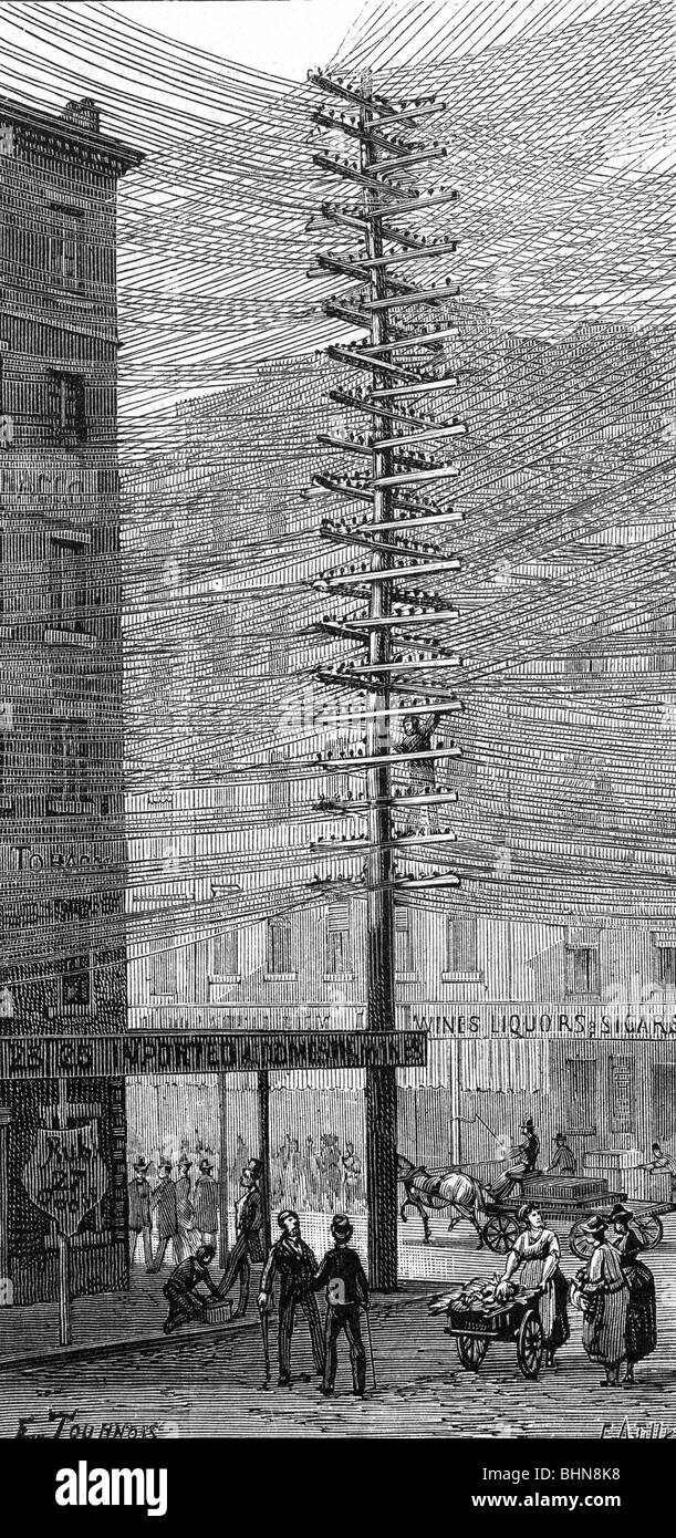 energy, electricity, power pole in New York, USA, wood engraving, late 19th century, historic, historical, power - Stock Image