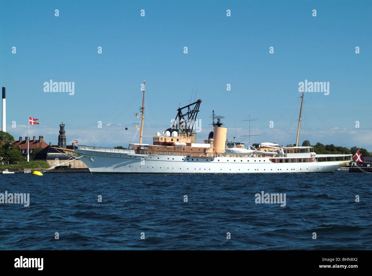 navigation, ships, Her Danish Majesty's Yacht Dannebrog, at Copenhaven harbour, Additional-Rights-Clearance - Stock Image