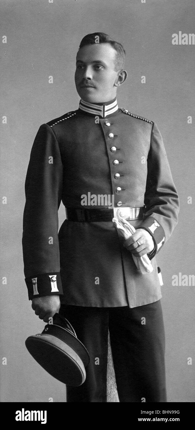 military, German Reich, uniform, one year volunteer, photo by J. Fuchs, Berlin, May 1906, Additional-Rights-Clearances - Stock Image