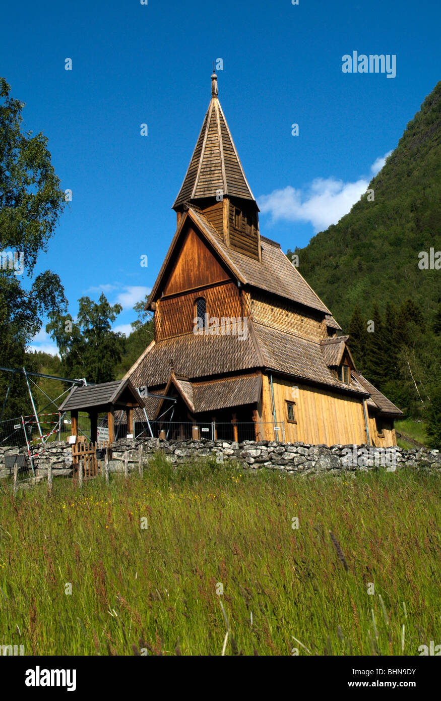 geography / travel, Norway, Urnes, stave church, under reconstruction, Additional-Rights-Clearance-Info-Not-Available - Stock Image
